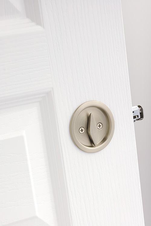 Elegant ... Kwikset Pocket Door Locks   Round Privacy Pocket Door Lock In Satin  Nickel ...