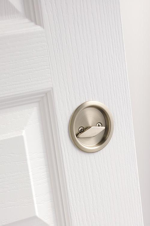 ... Kwikset Pocket Door Locks   Round Privacy Pocket Door Lock In Satin  Nickel ...