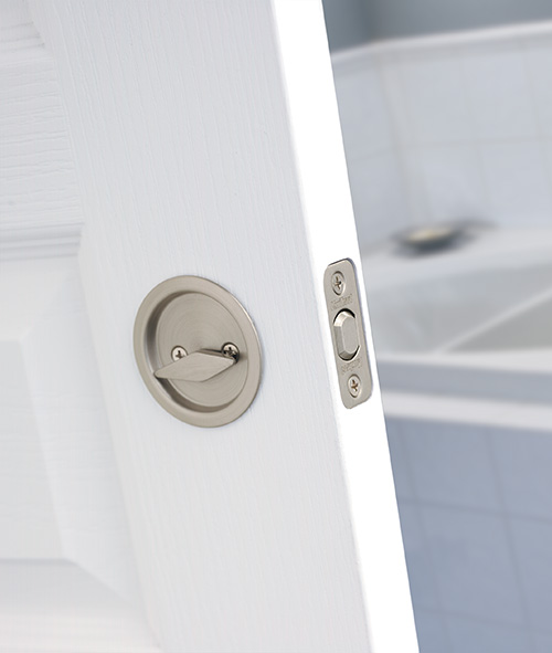 ... Kwikset Pocket Door Locks   Round Privacy Pocket Door Lock In Satin  Nickel