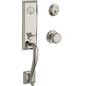 Baldwin Hardware - Glennon Escutcheon Double Cylinder Handleset with Classic Knob in Lifetime PVD Polished Nickel