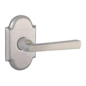 Baldwin Reserve - Right Handed Single Dummy Taper Door Lever with Rustic Arch Rose in White Bronze