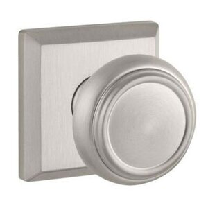 Baldwin Reserve - Passage Traditional Door Knob with Traditional Square Rose in Satin Nickel