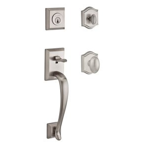 Baldwin Reserve - Napa Handleset with Ellipse Knob and Traditional Arch Rose in Satin Nickel