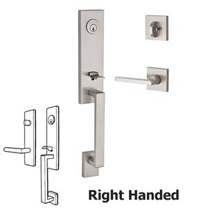 Baldwin Reserve - Seattle Handleset with Right Handed Square Lever and Contemporary Square Rose in Satin Nickel