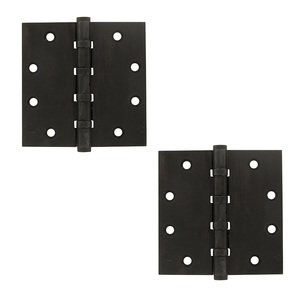 "Deltana - Solid Brass 4 1/2"" x 4 1/2"" 4 Ball Bearing/Non-Removable Pin Square Door Hinge (Sold as a Pair)"