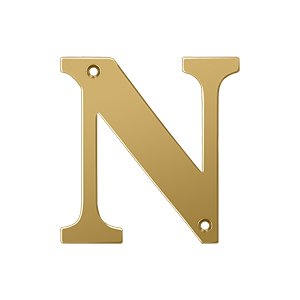 "Deltana Solid Brass 4"" Residential House Letter N in PVD Brass"