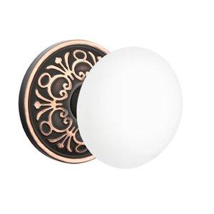 Emtek Hardware   Porcelain Door Knobs   Privacy Ice White Knob With  Lancaster Rosette