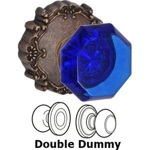 Crystal Door Knobs by Fusion Hardware - Double Dummy Victorian Cobalt Glass Knob with Victorian Rose in Medium Bronze
