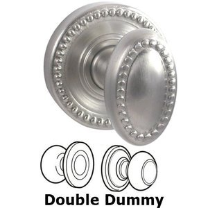 Door Knobs by Fusion Door Hardware - Double Dummy Beaded Egg Knob with Round Beaded Rose in Brushed Nickel