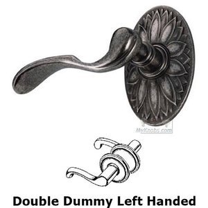 Door Levers by Fusion Door Hardware - Double Dummy Paddle Left Handed Lever with Oval Floral Rosette in Antique Pewter
