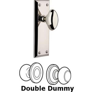 Grandeur Door - Double Dummy Set - Fifth Avenue Plate with Eden Prairie Knob in Polished Nickel