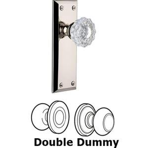 Grandeur Door - Double Dummy Set - Fifth Avenue Plate with Versailles Knob in Polished Nickel