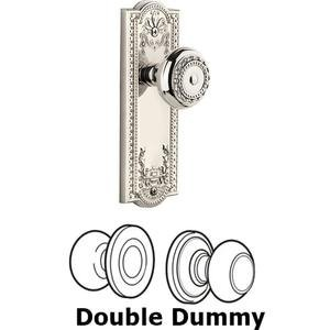 Grandeur Door - Double Dummy Set - Parthenon Plate with Parthenon Knob in Polished Nickel