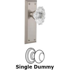 Grandeur Door - Single Dummy Knob - Fifth Avenue Plate with Crystal Biarritz Knob in Satin Nickel