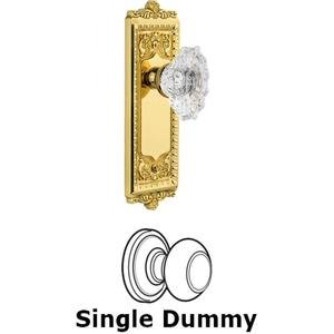 Grandeur Door - Single Dummy Knob - Windsor Plate with Crystal Biarritz Knob in Polished Brass