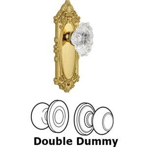 Grandeur Door - Double Dummy Set - Grande Victorian Plate with Crystal Biarritz Knob in Polished Brass