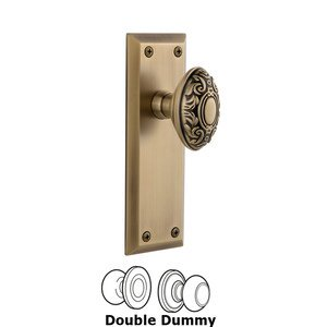 Grandeur Fifth Avenue Plate Double Dummy with Grande Victorian Knob in Vintage Brass