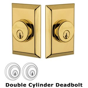Grandeur Double Cylinder Deadbolt with Fifth Avenue Plate in Lifetime Brass