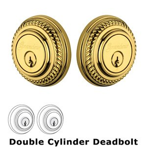 Grandeur Double Cylinder Deadbolt with Newport Plate in Lifetime Brass