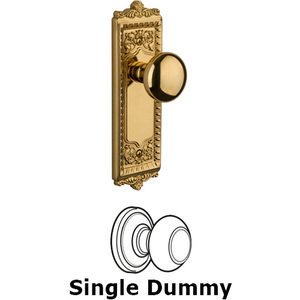 Grandeur Door - Single Dummy Knob - Windsor Plate with Fifth Avenue Door Knob in Lifetime Brass