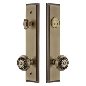 Grandeur Hardware - Carre - Tall Plate Handleset with Parthenon Knob in Vintage Brass