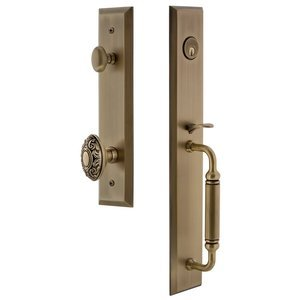 Grandeur Door Hardware - Fifth Avenue - One-Piece Handleset with C Grip and Grande Victorian Knob in Vintage Brass