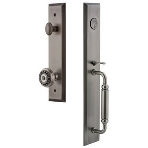 Grandeur Door Hardware - Fifth Avenue - One-Piece Handleset with C Grip and Parthenon Knob in Antique Pewter
