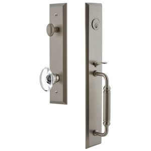Grandeur Door Hardware - Fifth Avenue - One-Piece Handleset with C Grip and Provence Knob in Satin Nickel