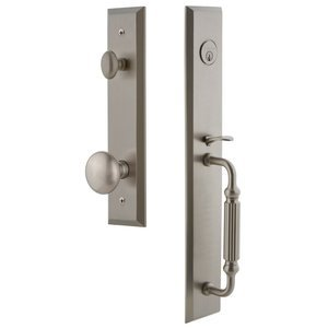 Grandeur Door Hardware - Fifth Avenue - One-Piece Handleset with F Grip and Fifth Avenue - Knob