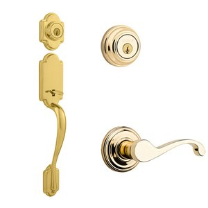 Kwikset Signature Series Arlington Double Cylinder Handleset With Commonwealth Interior Active Handleset Trim Right Hand Door Lever & Double Cylinder Deadbolt In Bright Brass