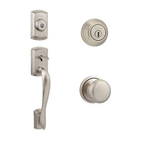 Kwikset Signature Series Avalon Double Cylinder Handleset In Hancock Interior Active Handleset Trim & Double Cylinder Deadbolt In Satin Nickel