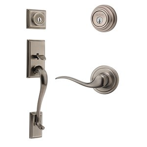 Kwikset Signature Series Hawthorne Double Cylinder Handleset With Tustin Interior Active Handleset Trim Left Hand Door Lever & Double Cylinder Deadbolt In Antique Nickel