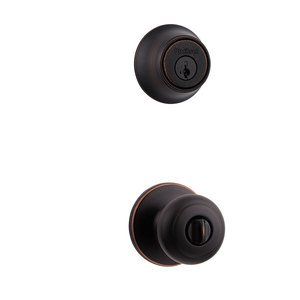Kwikset - Cove Interior Active Handleset Trim & Double Cylinder Deadbolt In Venetian Bronze