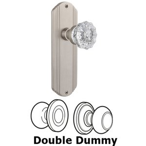 Nostalgic Warehouse - Double Dummy Set Without Keyhole - Deco Plate with Crystal Knob in Satin Nickel