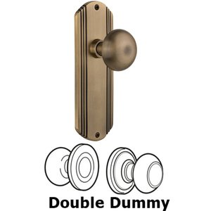 Nostalgic Warehouse - Double Dummy Set Without Keyhole - Deco Plate with New York Knob in Antique Brass