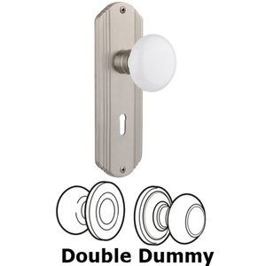 Nostalgic Warehouse - Double Dummy Set With Keyhole - Deco Plate with White Porcelain Knob in Satin Nickel