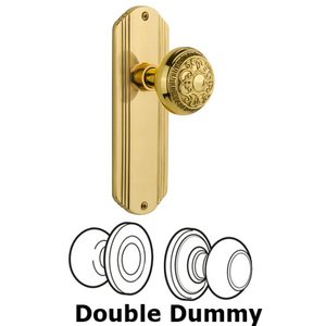 Nostalgic Warehouse - Double Dummy Set Without Keyhole - Deco Plate with Egg & Dart Knob in Polished Brass
