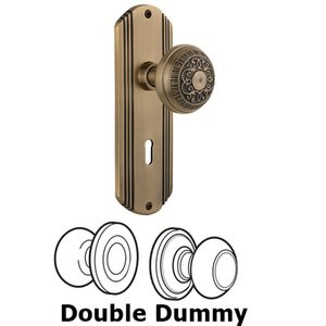 Nostalgic Warehouse - Double Dummy Set With Keyhole - Deco Plate with Egg & Dart Knob in Antique Brass