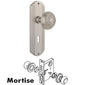 Nostalgic Warehouse - Complete Mortise Lockset - Deco Plate with Egg & Dart Knob in Satin Nickel