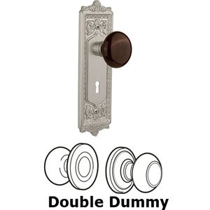 Nostalgic Warehouse - Double Dummy - Egg and Dart Plate with Brown Porcelain Knob with Keyhole in Satin Nickel