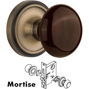 Nostalgic Warehouse - Mortise - Classic Rose with Brown Porcelain Knob in Antique Brass