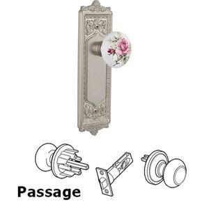 Nostalgic Warehouse - Passage Knob - Egg and Dart Plate with Rose Porcelain Knob without Keyhole in Satin Nickel
