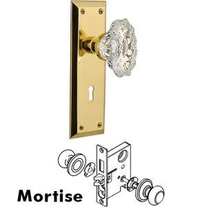 Nostalgic Warehouse - Complete Mortise Lockset - New York Plate with Chateau Crystal Knob in Polished Brass