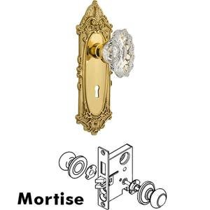 Nostalgic Warehouse - Complete Mortise Lockset - Victorian Plate with Chateau Crystal Knob in Unlacquered Brass