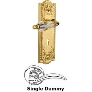 Nostalgic Warehouse - Single Dummy Lever With Keyhole - Meadows Plate with Parlour Crystal Lever in Unlacquered Brass