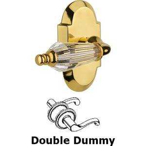 Nostalgic Warehouse - Double Dummy Set Without Keyhole - Cottage Plate with Parlour Crystal Lever in Polished Brass