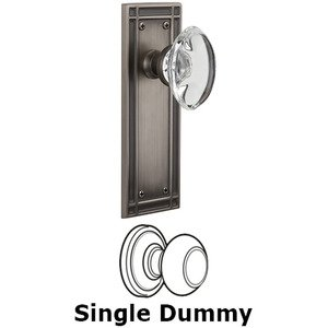 Nostalgic Warehouse - Single Dummy Knob - Mission Plate with Oval Clear Crystal Knob in Antique Pewter