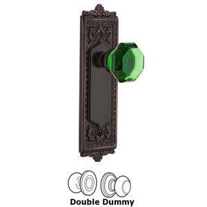 Nostalgic Warehouse - Double Dummy - Egg & Dart Plate Waldorf Emerald Door Knob in Timeless Bronze