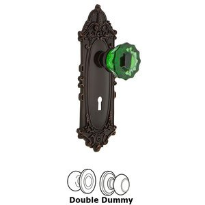 Nostalgic Warehouse - Double Dummy - Victorian Plate with Keyhole Crystal Emerald Glass Door Knob in Timeless Bronze