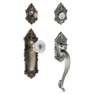 "Nostalgic Warehouse - Handleset - Victorian with ""S"" Grip and Crystal Knob in Antique Pewter"
